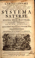 Title page of Systema Naturae, Halle an der Saale, Germany, 1760.