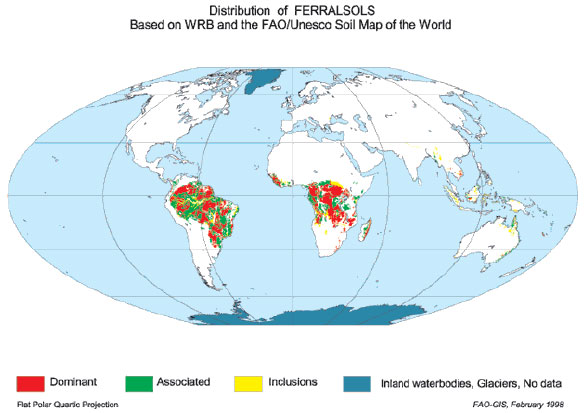 Oxisols distribution in the world. (From FAO/UNESCO
