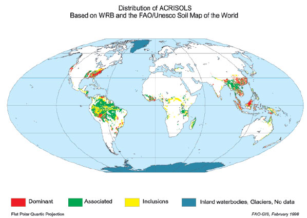 Ultisols distribution in the world