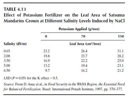 Effect of Potassium Fertilizer on the Leaf Area of Satsuma Mandarins Grown at Different Salinity Levels Induced by NaCl