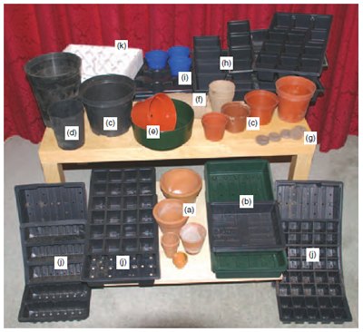 Figure 12.2 Range of containers for growing plants: (a) traditional clay pots (b) standard seed tray and half tray (c) standard plastic pots in range of sizes, compared with (d) 'long toms' and (e) half pots (f) biodegradable pots (g) compressed blocks (h) square or (i) round pots in trays (j) various ' strips ' in trays and (k) typical commercial polystyrene bedding plant tray.