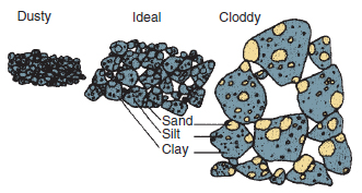Figure 17.12 Tilth. The ideal tilth for most seedbeds is made up of soil aggregates between 0.5 and 5 mm diameter. Within these crumbs are predominantly small pores (less than 0.05 mm) that hold water and between the crumbs are large pores (greater than 0.05 mm) that allow easy water movement and contain air when soil is at field capacity (×5 actual size).