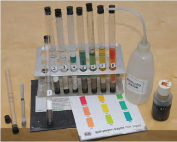 Figure 20.3 Soil pH testing. Equipment required includes test tubes, spatula, barium sulphate, pH indicator, colour chart. 1 Barium sulphate added to soil. 2 Distilled water added. 3 Shake. 4 Add indicator and leave to stand. 5,6,7,8 Check colour against the chart to find soil pH