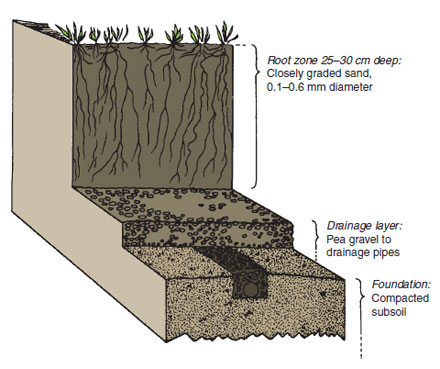 Figure 22.9 Pure sand root zone used for sportsground surfaces